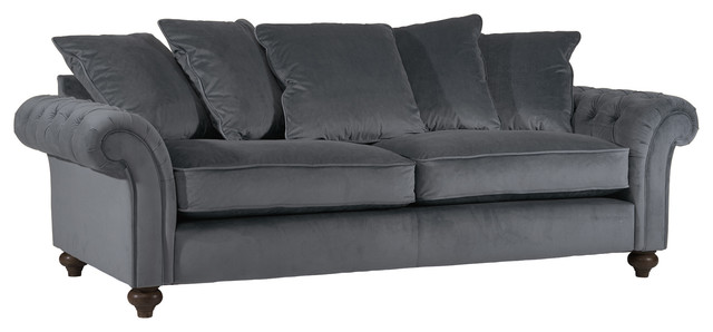 Liberty Smoky Grey Velvet Sofa
