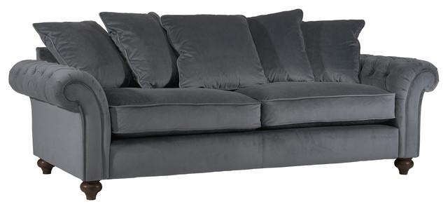 Liberty Smoky Grey Velvet Sofa