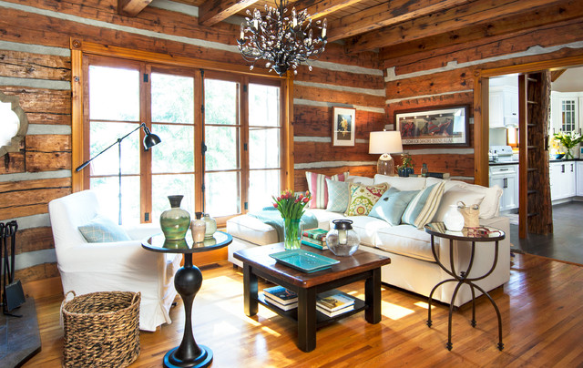 Log cottage living room rustic toronto by fig interiors for Modern cottage living room ideas