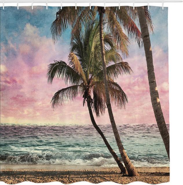 Palm Trees At Sunrise Ocean Escape Fabric Shower Curtain Tropical Shower  Curtains