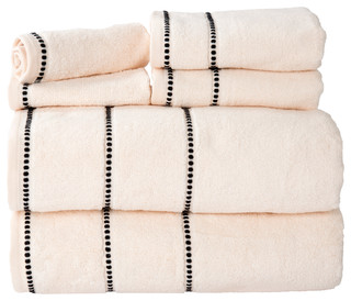 Lavish Home Quick Dry 100% Cotton Zero Twist 6 Piece Towel Set, Bone