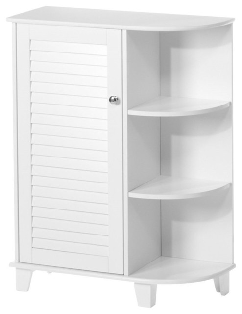 Free Standing Bathroom Floor Cabinet With 3 Shelves White