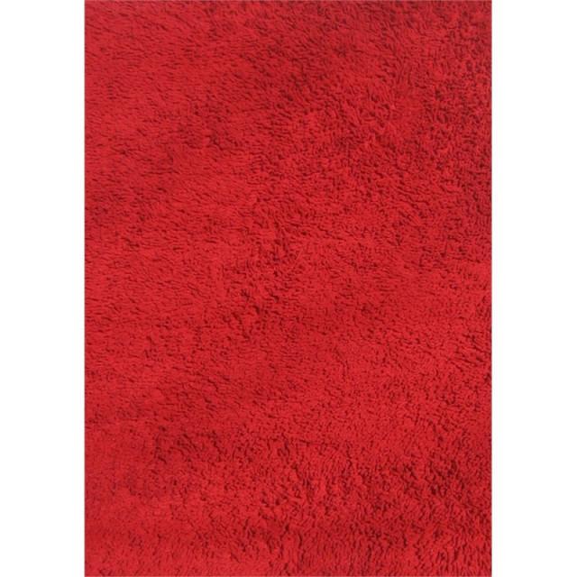 "Fun Shag Chenille Cotton 51""x78"" Shag Tufted Area Rug in Red"