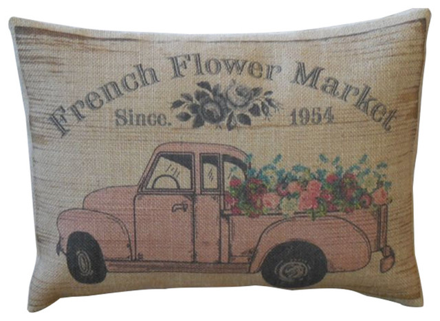 "French Pink Flower Truck Burlap Pillow, 12""x16""."