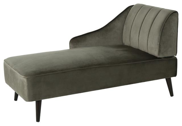 Indira Glam Velvet Chaise Lounge, Gray + Dark Walnut.