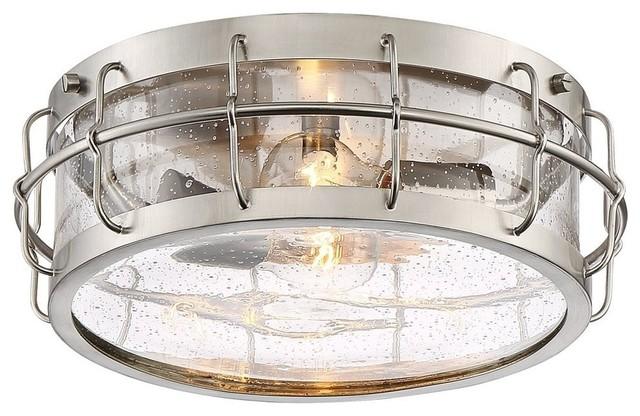 13 1/4 Wide Satin Nickel Caged Metal Ceiling Light.