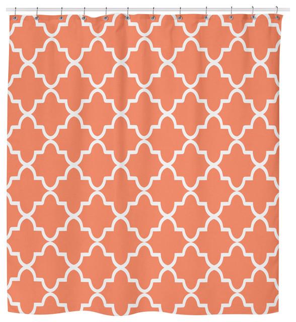 Orange Geometric Shower Curtain