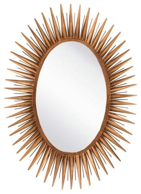 "Surya Wall Decor Mirror, Antiqued Goldtone, Round 30""."