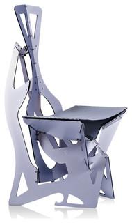 Leaf Contemporary Designer Chair, Folds Flat, Silver