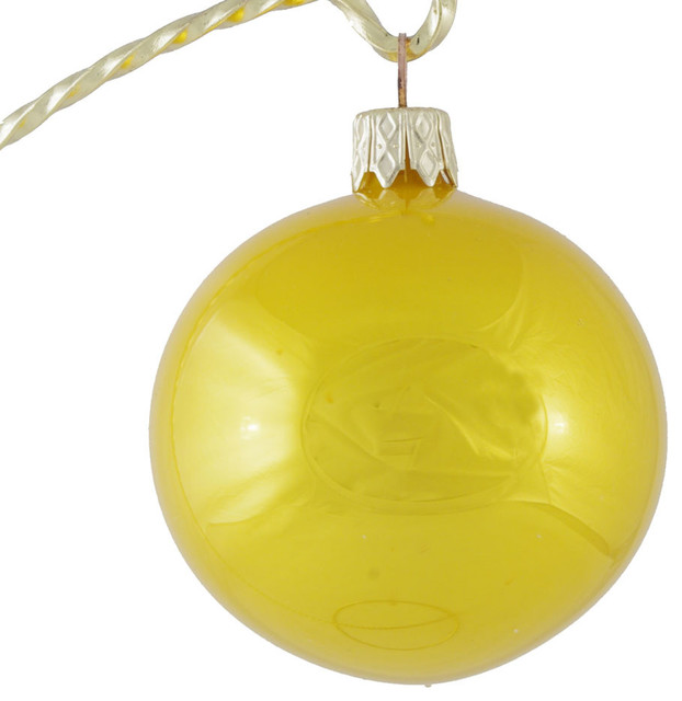 Glossy Yellow Glass Christmas Ornament Made In Slovakia