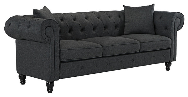 Classic Scroll Arm Chesterfield Style Modern Linen Fabric Couch, Dark Gray
