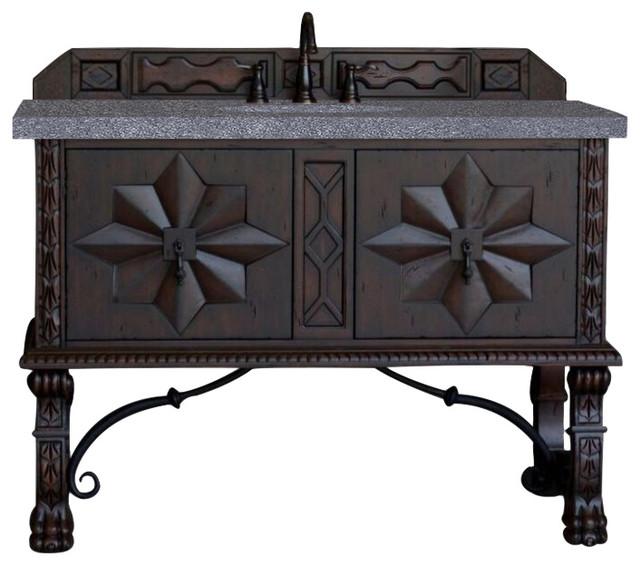 "Balmoral 48"" Single Vanity Cabinet, Antique Walnut, 4cm Black Rustic Stone Top."