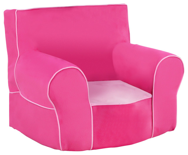 Foam Chair With Handle, Passion Pink With Bubblegum Pink Contemporary Kids  Chairs