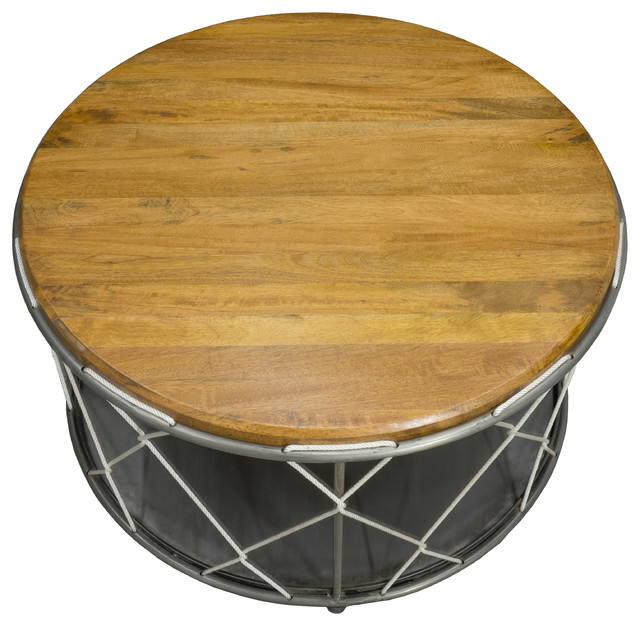 Bb design industrial loft round rope table industrial for Round rope coffee table
