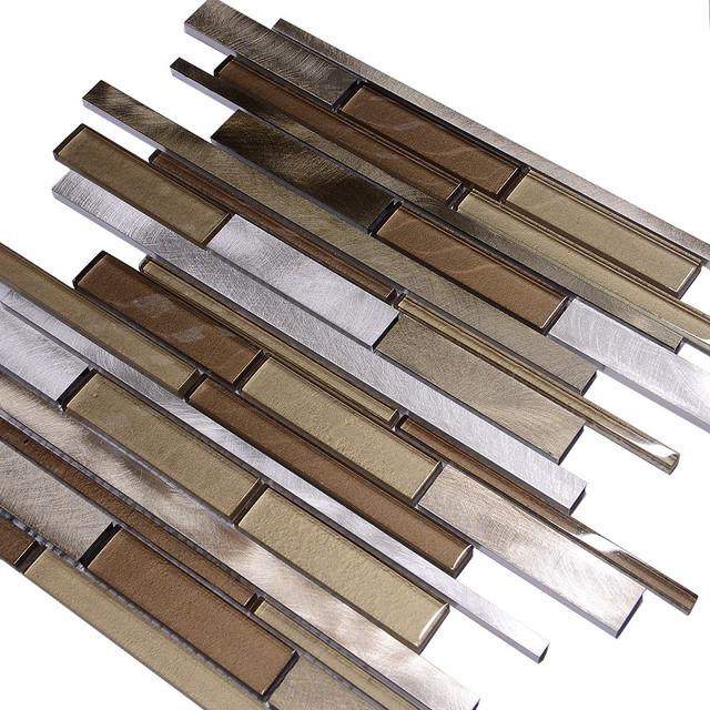 Metallic Brown Gl Modern Subway Kitchen Backsplash Tile