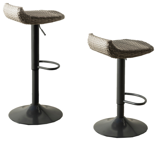 Cannes Woven Outdoor Barstool, Set Of 2 Tropical Outdoor Bar Stools