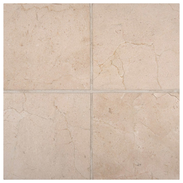 6x6 Crema Marfil Polished Marble Floor And Wall Tile Traditional
