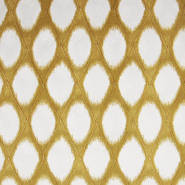Daffodil Gold Diamond Geometric Ikat Lattice Cotton Print Upholstery Fabric