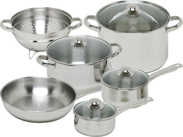 10-Piece Vesta Stainless Steel Cookware Set.