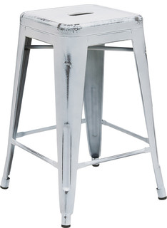 "Flash Furniture 24"" Metal Counter Stool, Crystal Blue - Industrial - Outdoor Bar Stools And ..."