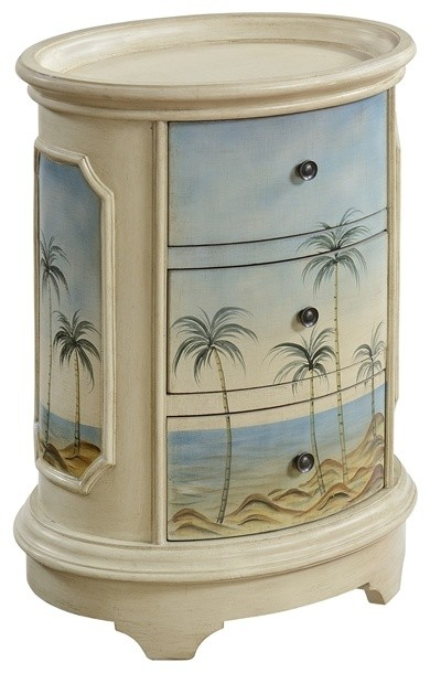 3-Drawer Oval Chest, Olosega Ivory Sea View