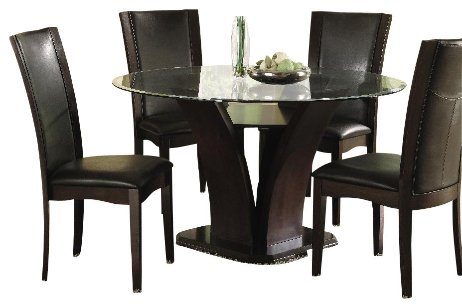 Homelegance Daisy 7-Piece Round Dining Room Set, Espresso
