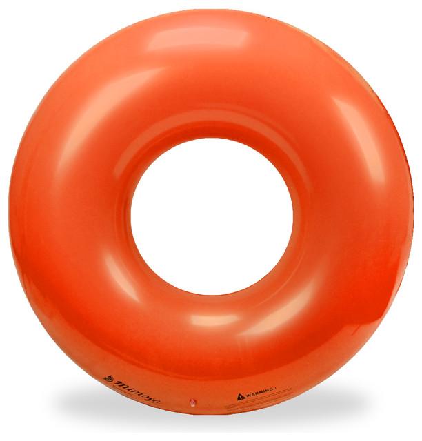 Bright Orange Inflatable Premium Quality Giant Round Tube Pool Float.