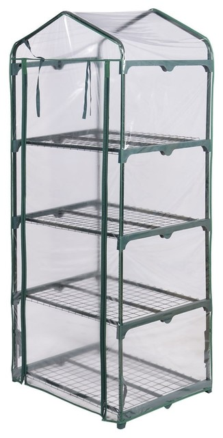 Modern Outdoor Portable Mini 4 Shelves Greenhouse.