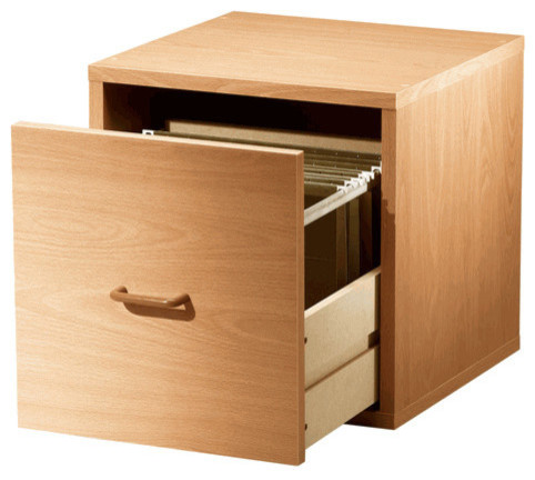 Single File Drawer Cube, Honey - Contemporary - Filing Cabinets - by Organize