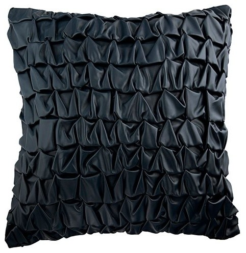 Blue Throw Pillow Cover Navy Blue Faux Leather Last Navy Contemporary Decorative Pillows By The Homecentric Houzz