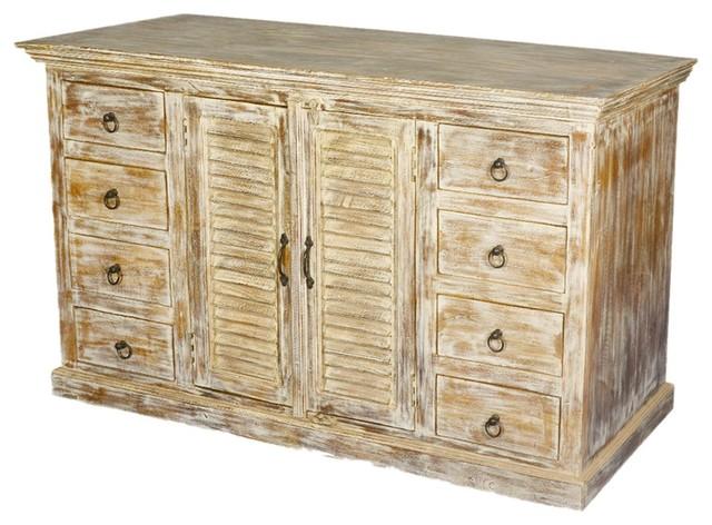 Sierra Living Concepts - Rustic Distressed Wood 8 Drawer Sideboard Storage Cabinet - View in ...