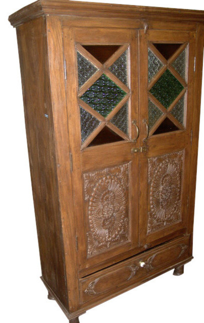 Consigned India Cabinet Carvings Wooden Armoire Beautiful Hand