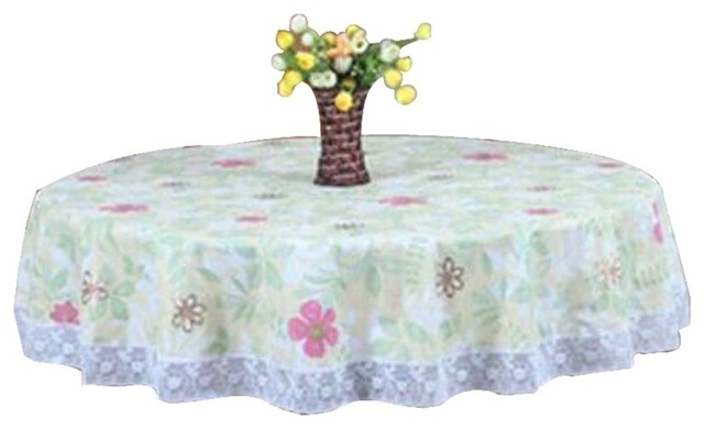 Elegant PVC Round Tablecloth Water/Oil Resistant Tablecloths/Picnic Mat  Contemporary Tablecloths