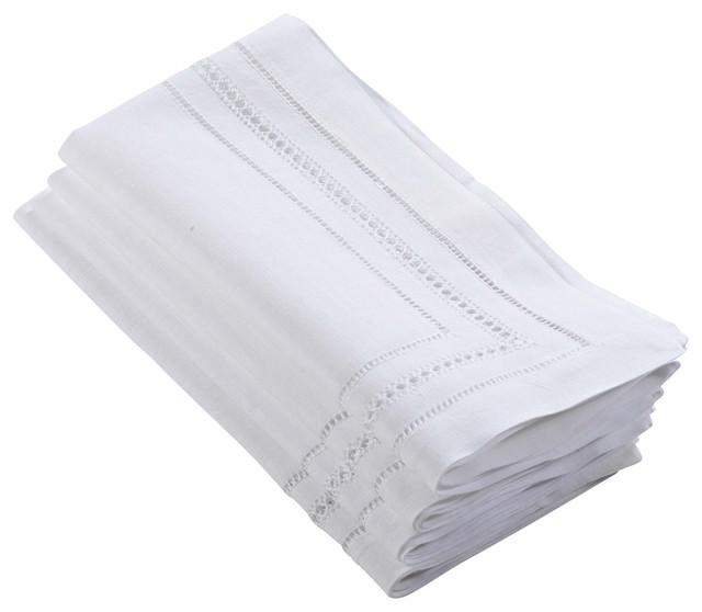 Handmade Hemstitch and Cutwork Linen Cotton Napkins Set of 4