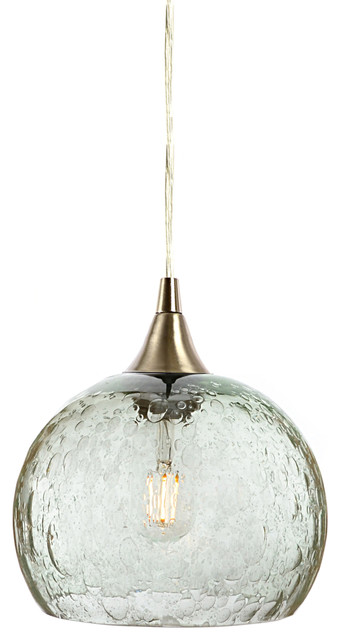 Lunar Pendant No. 767, Clear Glass Shade, Brushed Nickel Hardware