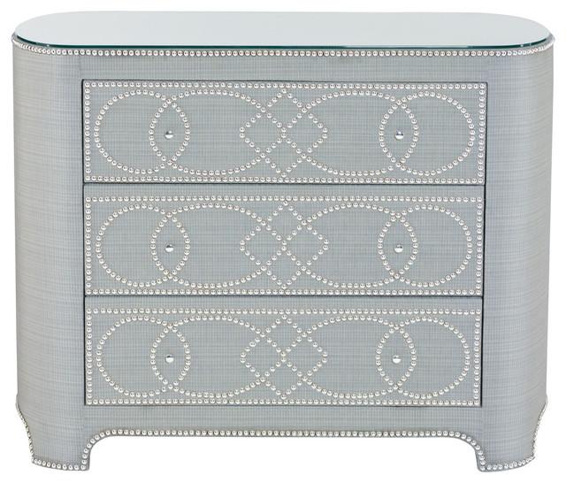 River Hollywood Regency Fabric 3 Drawer Nailhead Pattern Dresser