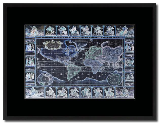World Vintage Vivid Map Print On Canvas With Black Custom Frame 16