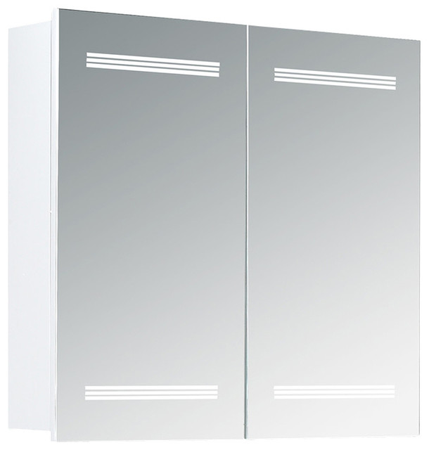 Marici Mirrored Medicine Cabinet With Led Lights Modern Cabinets By Ove Decors