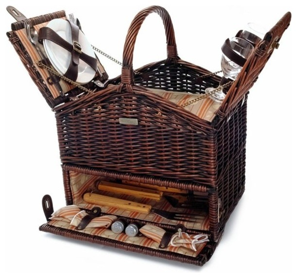 Picnic amp Beyond Willow BBQ Picnic Basket Picnic and  : transitional picnic baskets from www.houzz.com size 611 x 572 jpeg 83kB