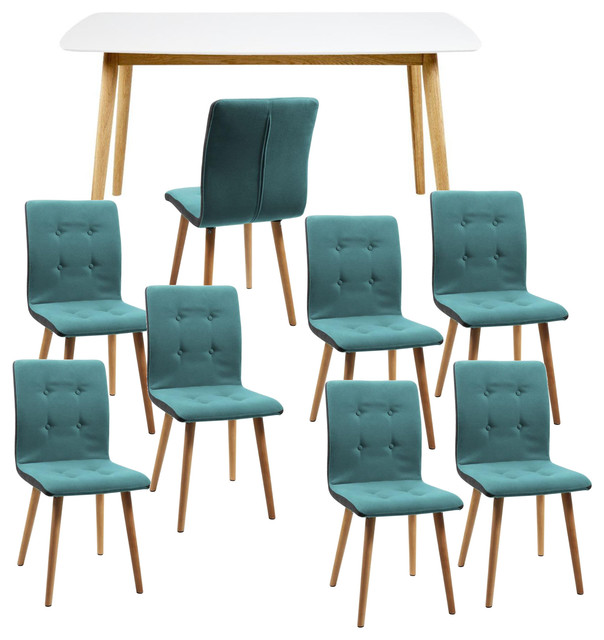 Nagane Extending Table And Fridi Chairs, Light Petrol Fabric, 8 Chairs