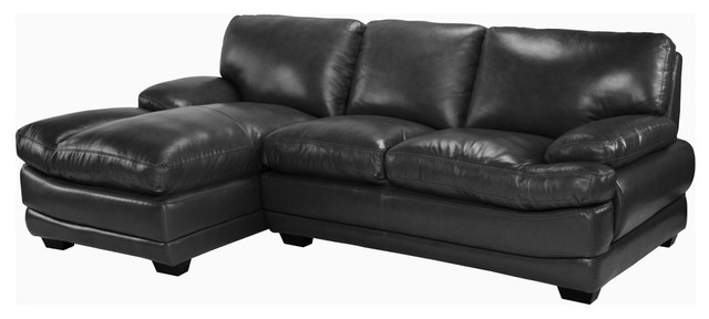 Leather Match Modern Sectional Sofa, Left Facing Chaise Lounge, Black