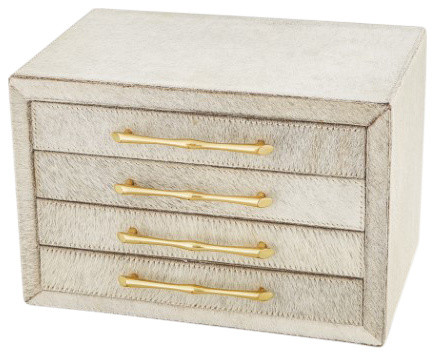 Luxe White Hair on Hide Jewelry Box | Gold Drawers Hairhide Leather Tabletop