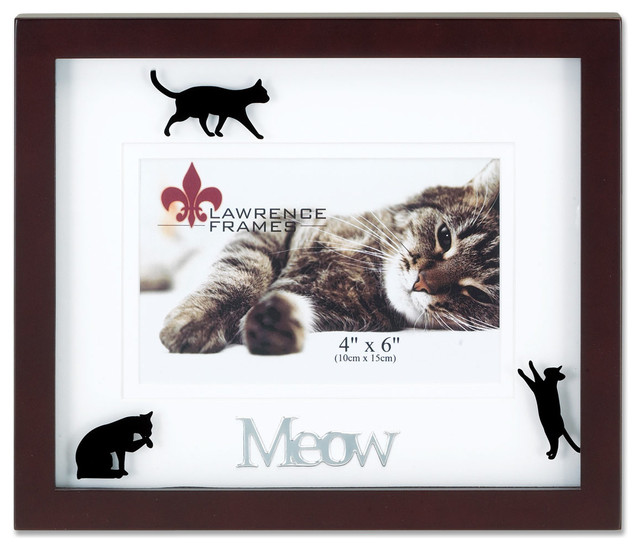 walnut wood 4x6 meow picture frame matted shadow box cat frame contemporary picture