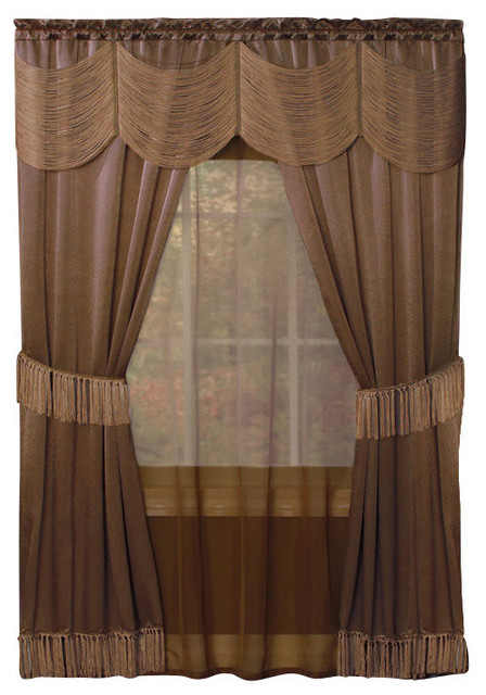 "Halley 6 Piece Soft Window Covering Set, Taupe, 56""x84""."