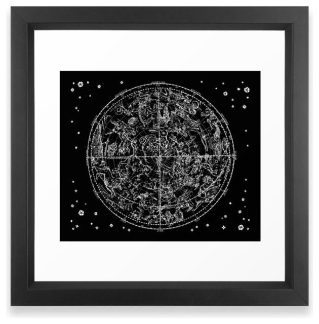 Black And White Zodiac Framed Print Vector Black Contemporary