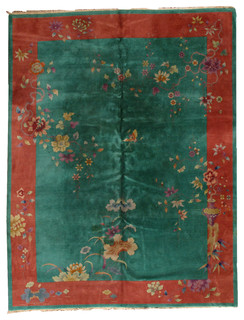 Consigned, Hand Made Art Deco Chinese Rug 8.10'x11.6', 273cmx353cm, 1920 - Traditional - Area ...