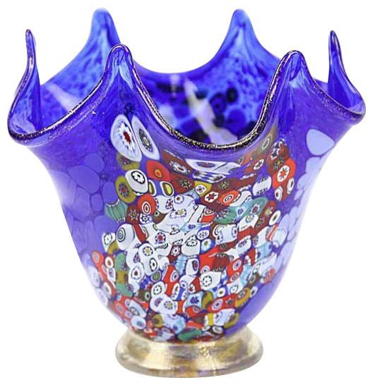 Murano Glass Millefiori Fazzoletto Vase Blue Contemporary Vases