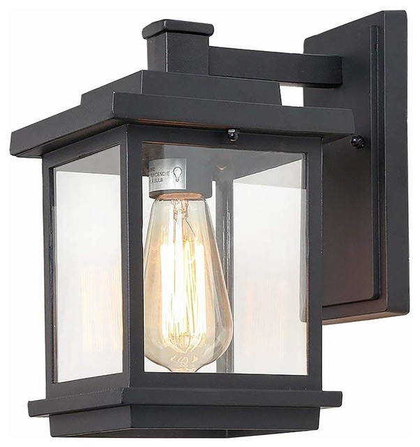 Transitional Aluminum Wall Sconce Black Patio Outdoor Lighting Clear Gl Shade
