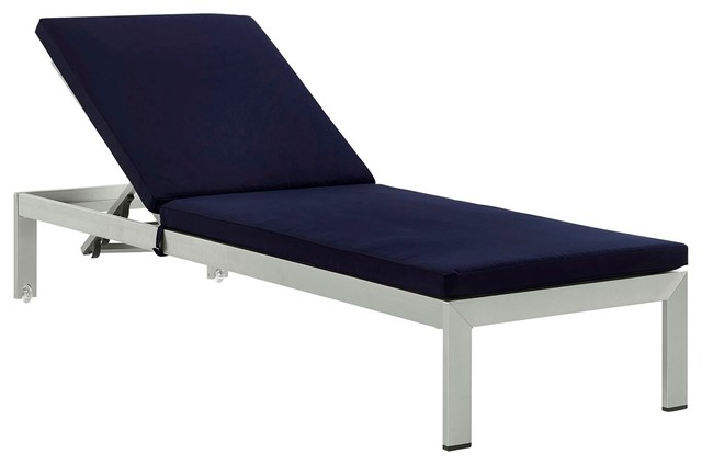 Modern Contemporary Urban Outdoor Patio Chaise Lounge Chair, Navy Blue, Aluminum.