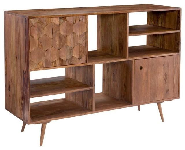 Orianne Mid Century Sheesham Wood Bookshelf.